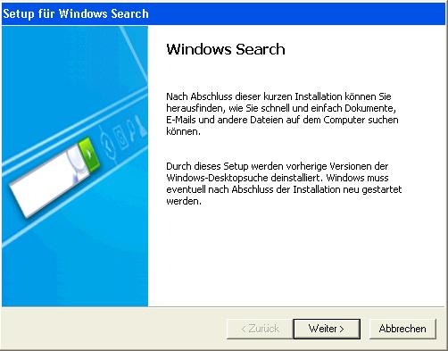 Setup für Windows Search